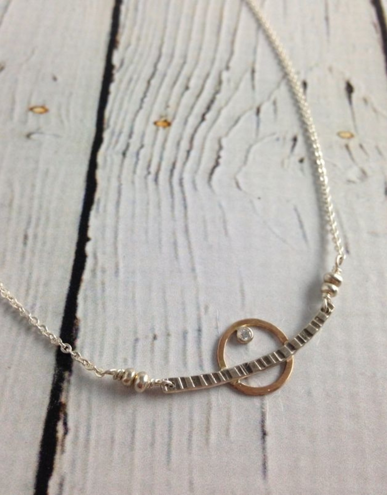 """J&I Handmade Etched sterling with 14kt goldfill circle and 2mm white cz necklace, 18"""""""