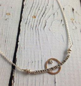 J&I Handmade Etched sterling with 14kt goldfill circle and 2mm white cz necklace, 18""