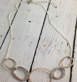 "J&I Handmade Hammered 14kt goldfill and sterling ovals necklace with flush set 1.5mm white cz on 19"" chain"