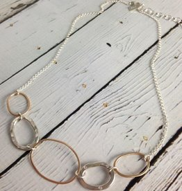 """J&I Handmade Hammered 14kt goldfill and sterling ovals necklace with flush set 1.5mm white cz on 19"""" chain"""