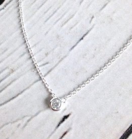 Tashi Sterling Silver Cubic Zirconia Solitaire Necklace