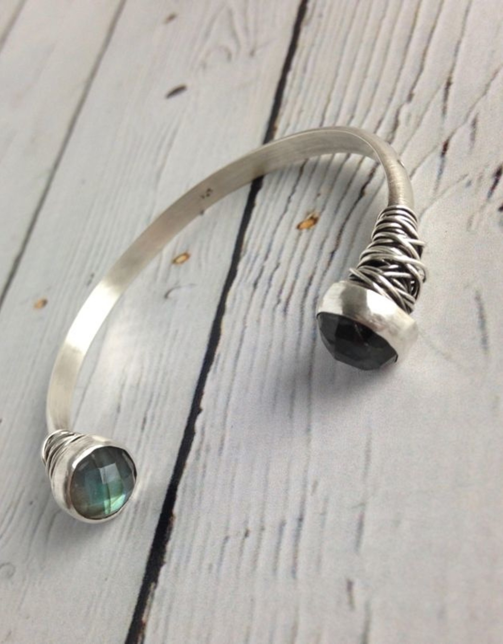 J&I Handmade Etched Open Sterling Bangle with Faceted Labradorite End Caps