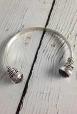 Handmade Etched Open Sterling Bangle with Faceted Labradorite End Caps