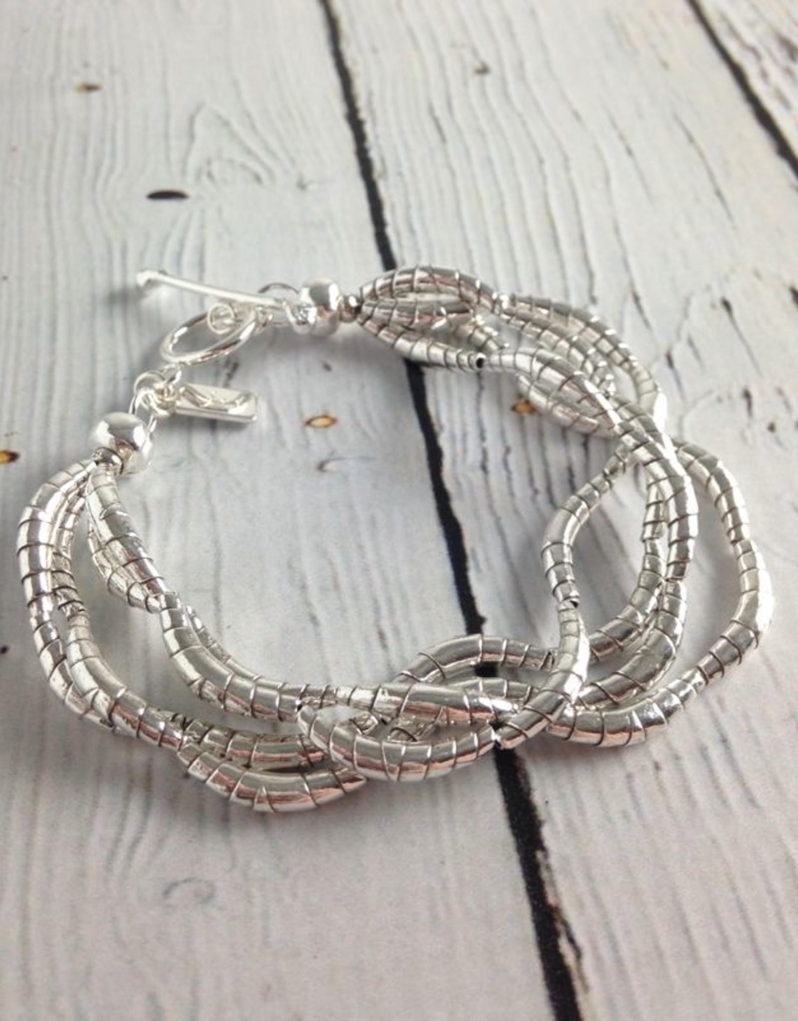 J&I Silver Multi Twist Bead Bracelet