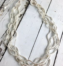 J&I Silver Multi Twist Bead Necklace