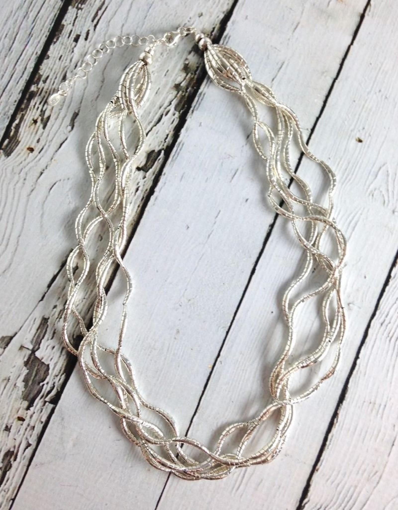 J&I Silver Multi Twist Bead Necklace