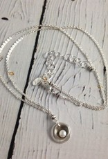 J&I Handmade Oxidized Sterling Cupped White Pearl Necklace