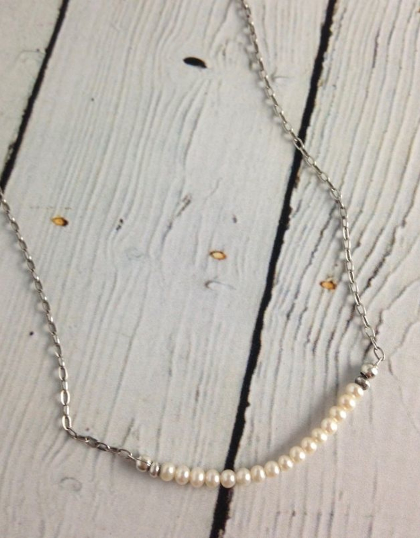 J&I Handmade  3mm White FWP Necklace with Oxidized Sterling Chain