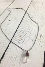 "HawkHouse Raw Quartz Pendant on 18"" Sterling Chain Necklace"