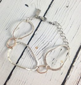 J&I Handmade Hammered open sterling and 14kt goldfill oval bracelet