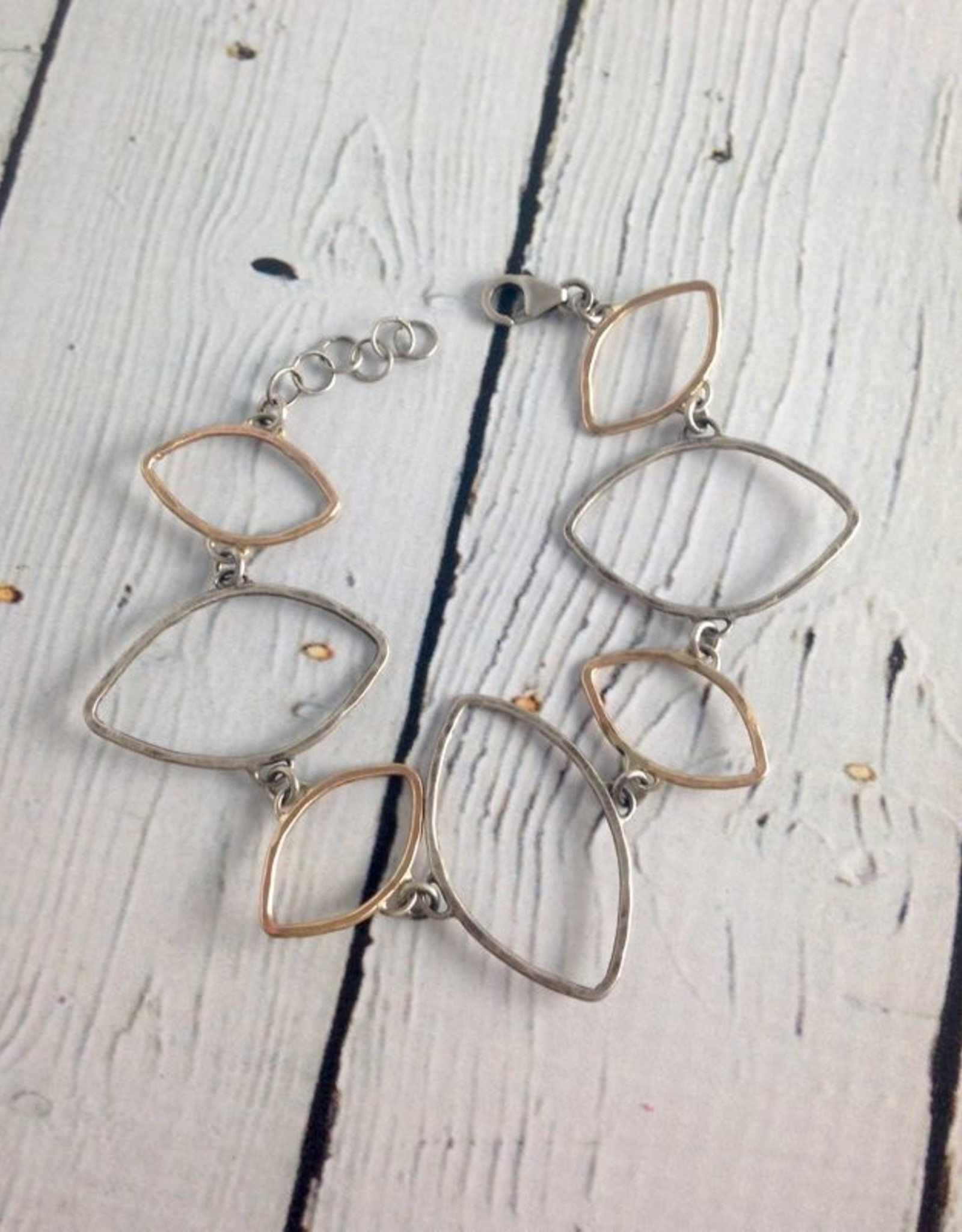 J&I Hammered Sterling and 14kt Goldfill Open Leaf Shape Bracelet