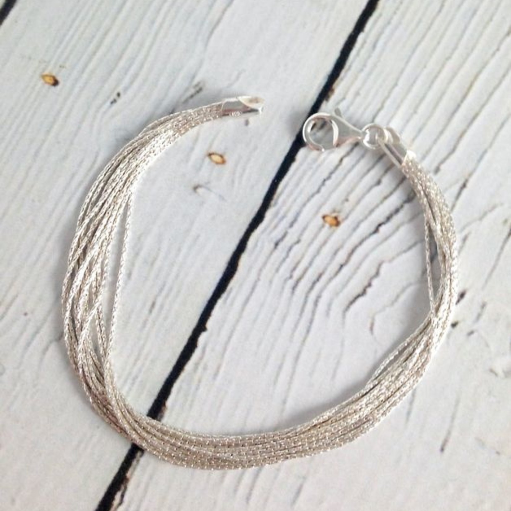 "Sterling Silver 12mm 7.5"" Spark Chain Bracelet"