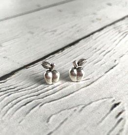 solidsilver Sterling Silver Oxidized Apple stud Earrings
