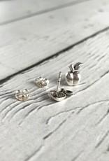Sterling Silver Oxidized Apple stud Earrings
