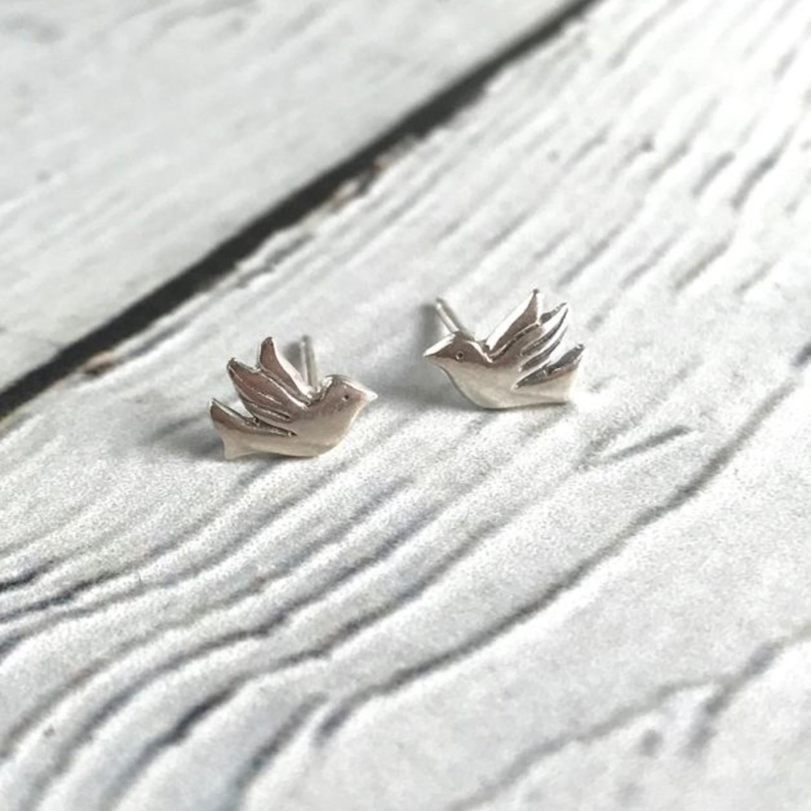Flying Bird Stud Earrings, Sterling Silver