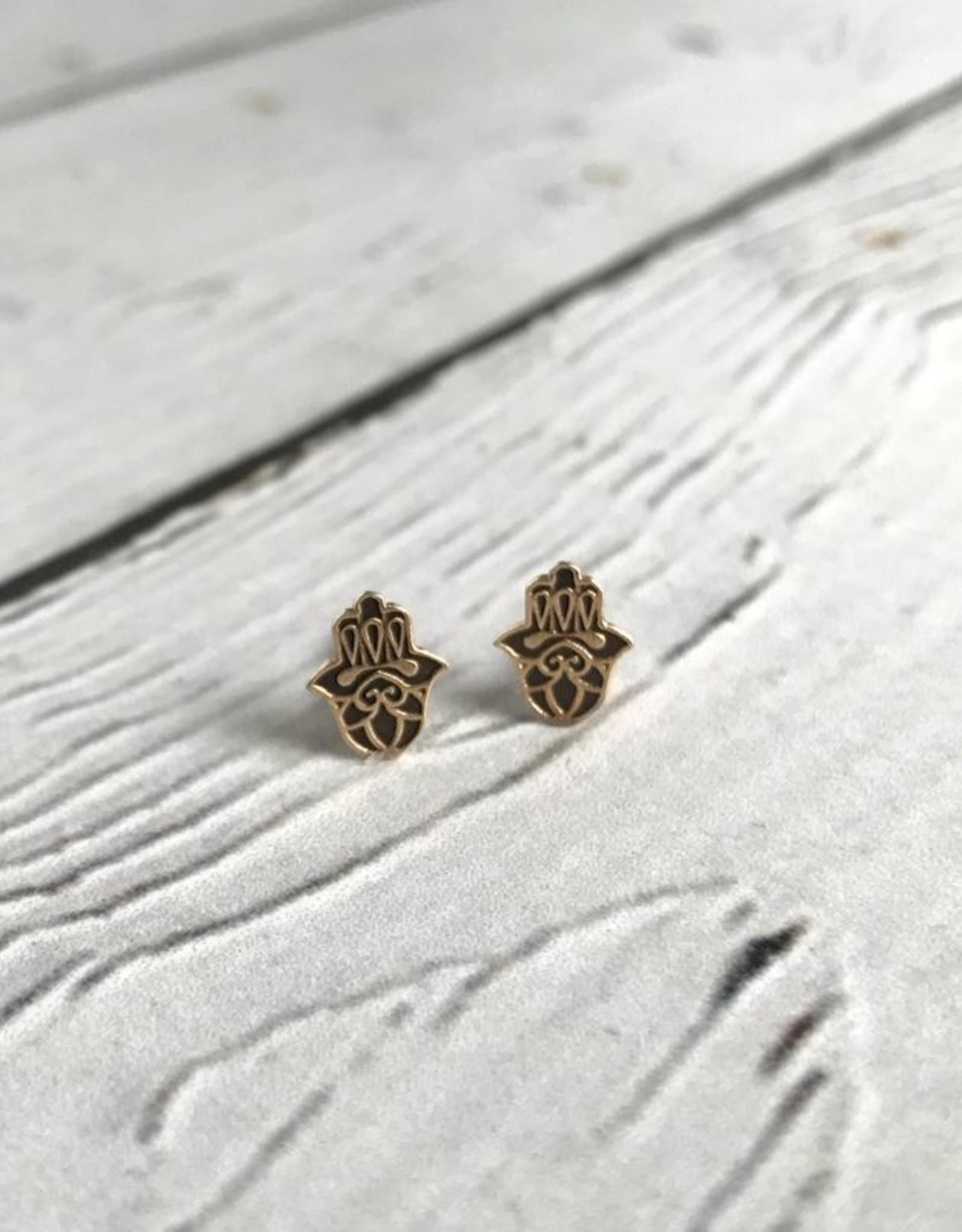 Tomas 14k Gold-Plated Hamsa Stud Earrings