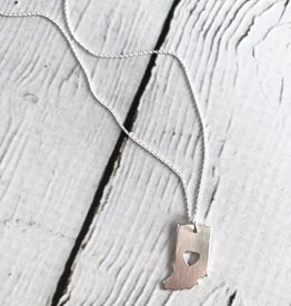 Twigs and Twine Handmade Sterling Silver Indiana with Perfect Heart Cut Out