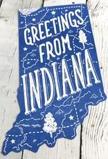 Greetings From Indiana Die Cut Postcard