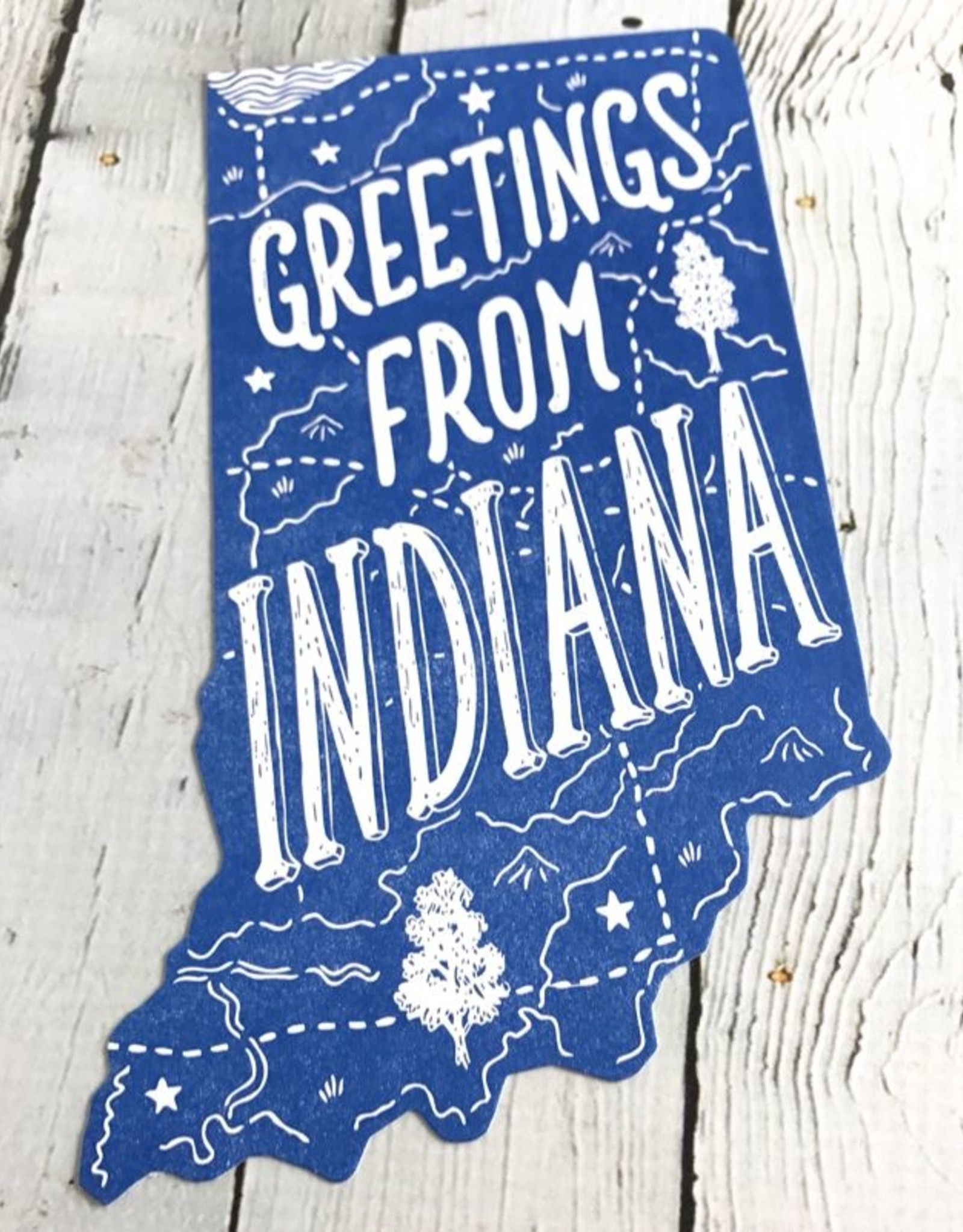Noteworthy Greetings From Indiana Die Cut Postcard