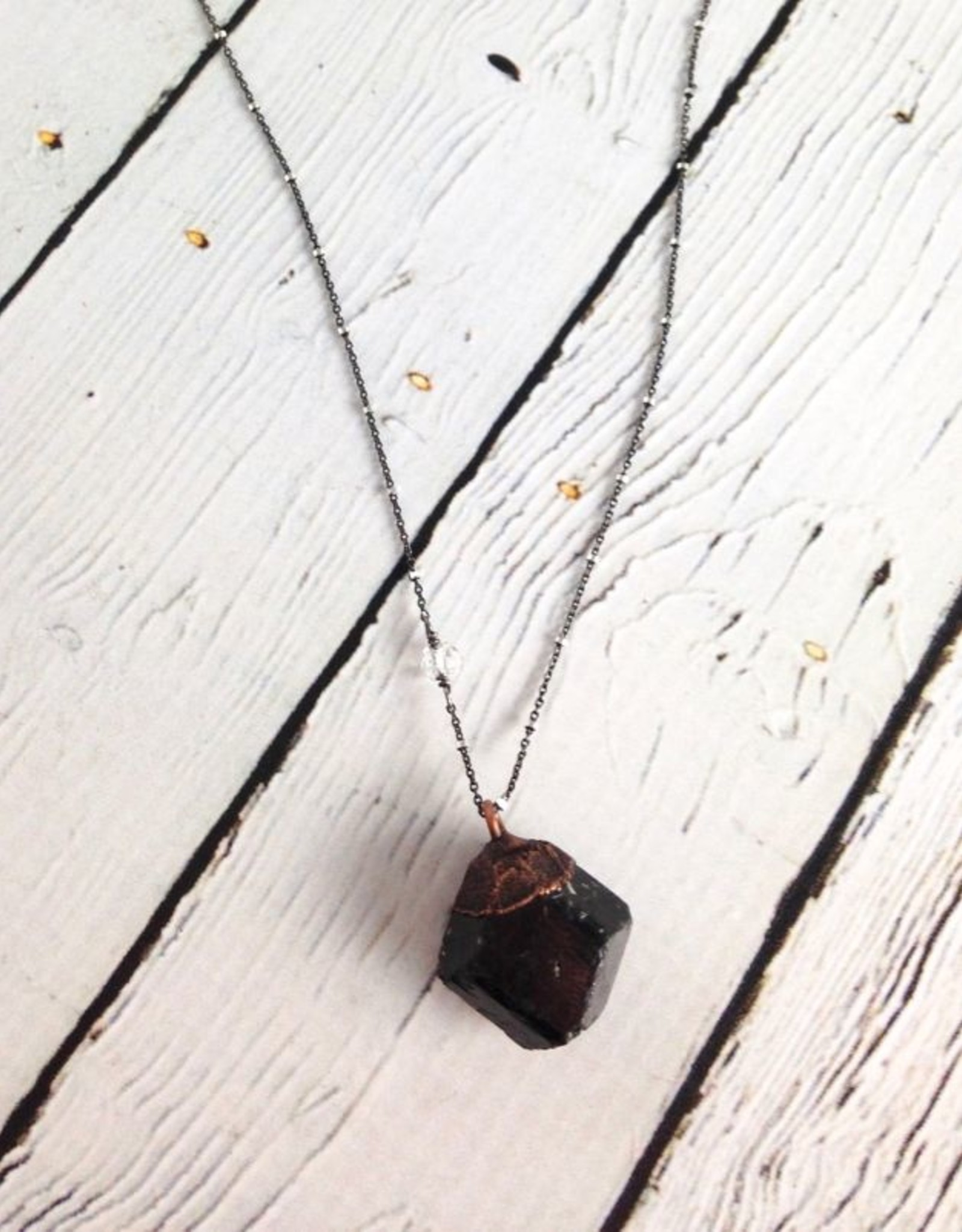 "HawkHouse Raw Tourmaline Chunk on 24"" Sterling Silver Satellite Chain - October Birthstone"
