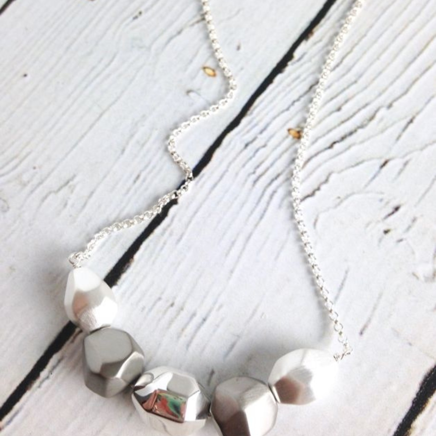 Sterling Silver Matte and Shiny Pure Silver Faceted Stones Necklace