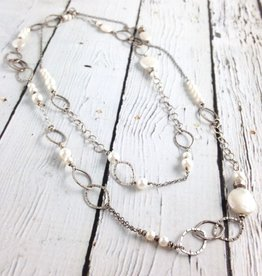 "Handmade Long (40"") hammered sterling and white pearl necklace"