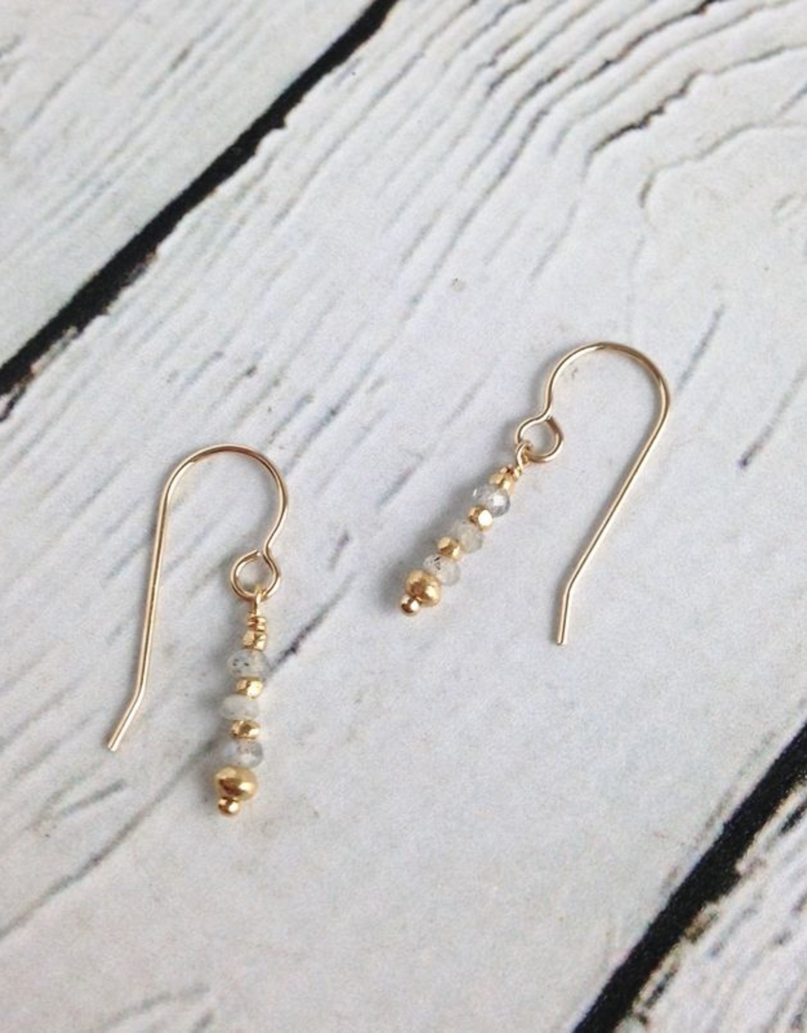 Handmade 4mm Faceted Labradorite and Gold Vermeil Earrings