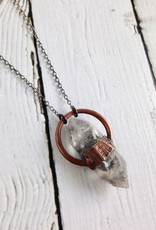 """Raw Chubby Anthraxolite Set in Copper Halo Setting on 24"""" Oxidized Ombre Sterling Silver Chain Necklace"""