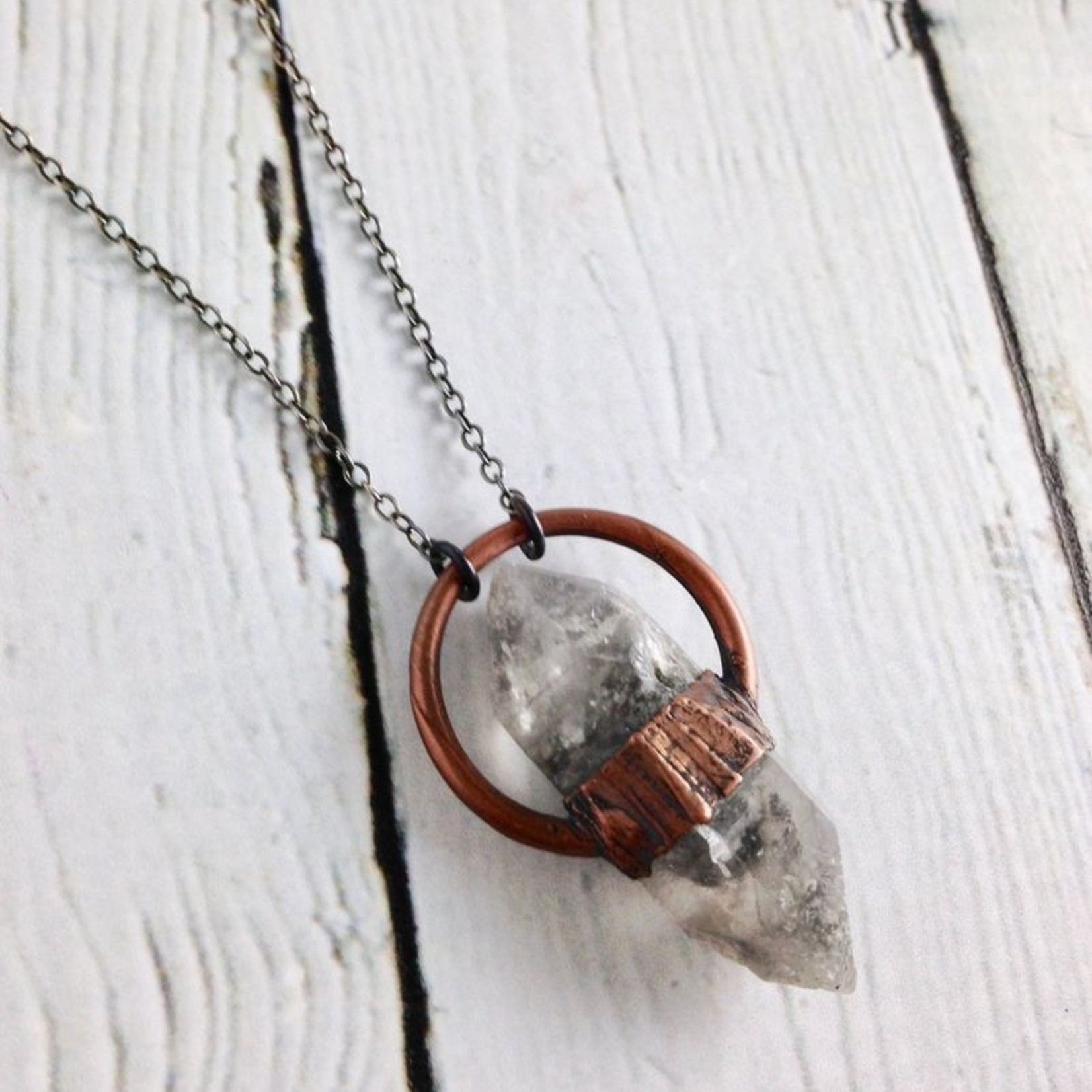 "Raw Chubby Anthraxolite Set in Copper Halo Setting on 24"" Oxidized Ombre Sterling Silver Chain Necklace"