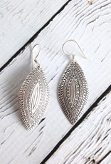 Hilltribe Silver Stamped Pointed Oval Earrings