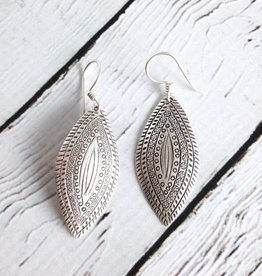 TigerMtn Hilltribe Silver Stamped Pointed Oval Earrings