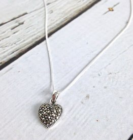 Boma Sterling Silver and Marcasite Heart Necklace