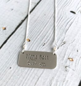 Twigs and Twine Handstamped Mama Bear with One Cub and Fresh Water Pearls Necklace