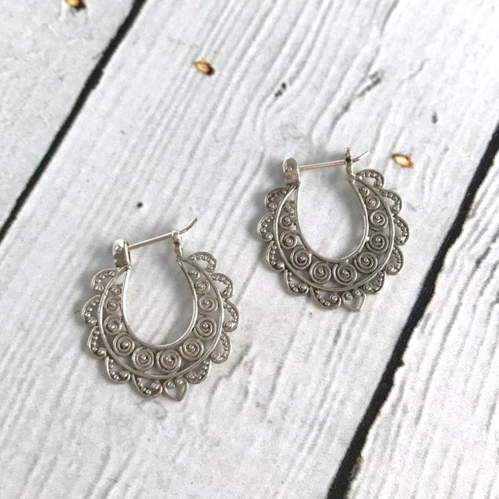 Sterling Silver Oxidized Scroll Circles Hinged Hoop Earrings