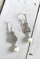 Sterling Silver Ornate Design Earrins with Pearl Drop