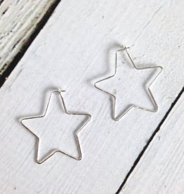 Recycled Sterling Silver Small Hammered Star-Shaped Hoop Earrings