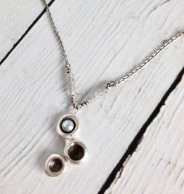 J&I Handmade Heavy Triple Oxidized Sterling Cup Cluster with Silver Grey Pearl on Sterling Chain Necklace