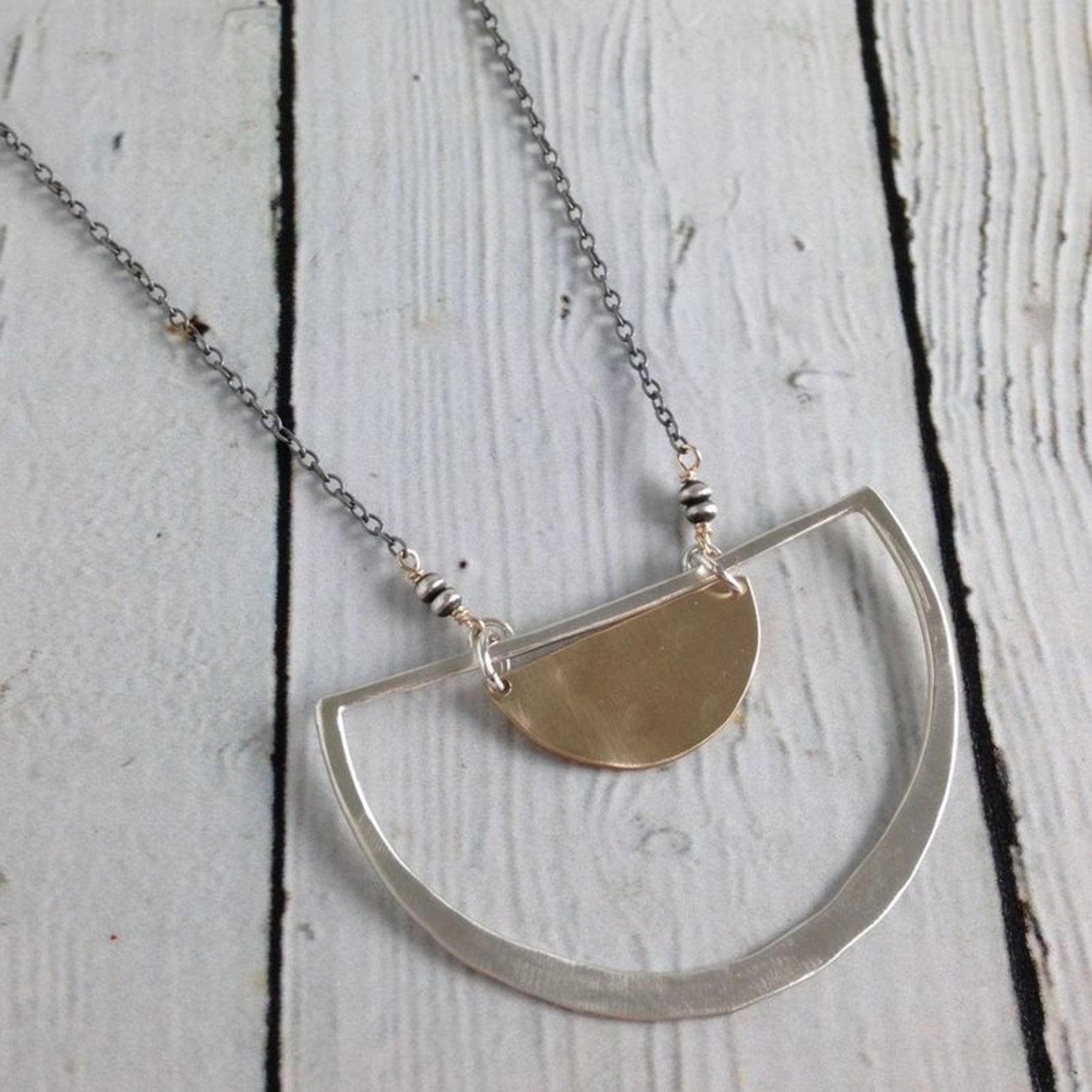 Handmade Sterling Semi Circle Pendant with 14kt GF Half Moon on Oxidized Chain