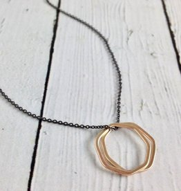 Handmade Double 14kt GF 7-sides Shapes on Oxidized Necklace