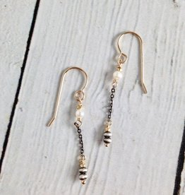 Handmade Oxidized Sterling with 14kt gf and White Freshwater Pearl Earrings