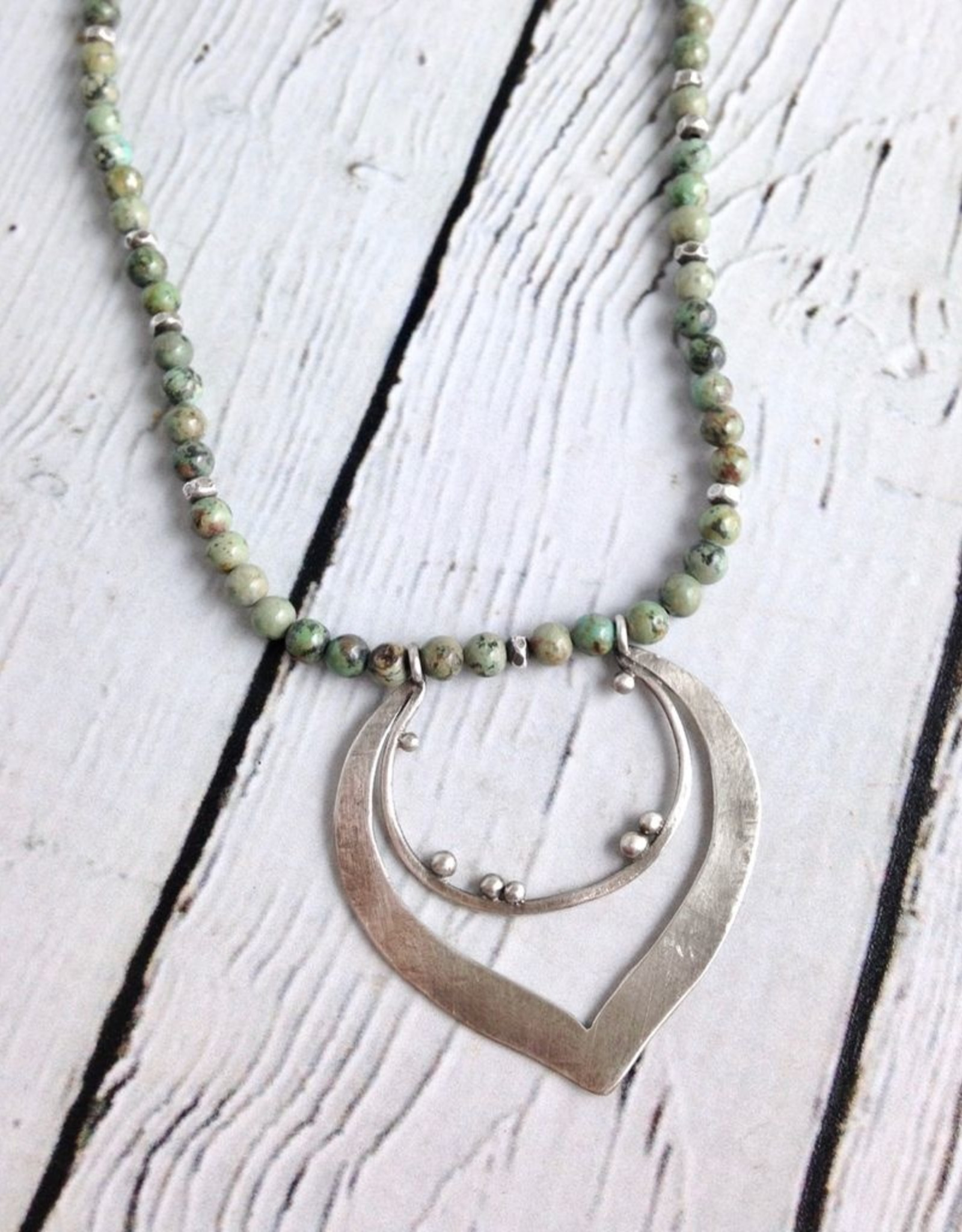 Handmade Sterling Silver Organic Pendant on Turquoise bead Necklace by Julia Britell Designs