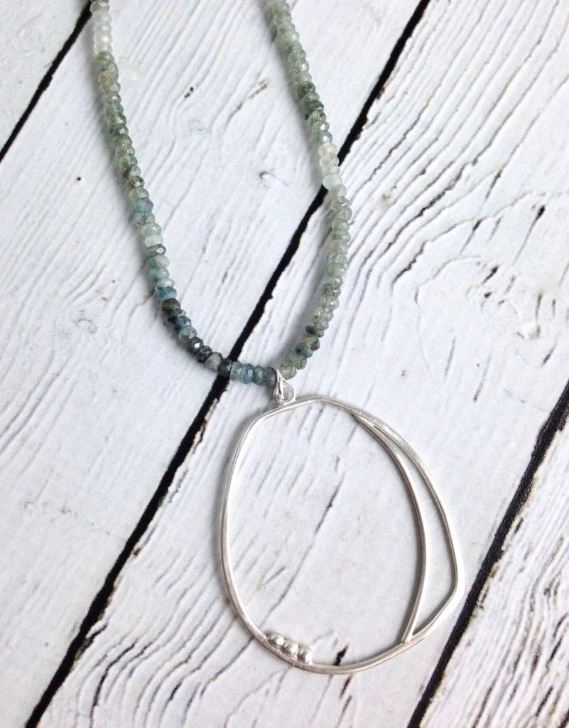 Moss Aquamarine Sterling Silver Amulet Necklace