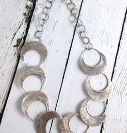 Julia Britell Handmade Sterling Silver Oxidized and textured open circle with solid halfmoon links necklace by Julia Britell Designs