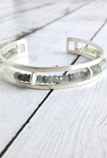 Handmade Matte Sterling Silver Cuff Bracelet with single rows of Moss Aquamarine by Julia Britell Designs