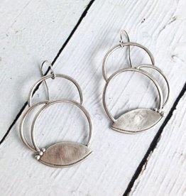 Handmade Matte Sterling Silver Circles with Lotus Petal Earrings by Julia Britell Designs