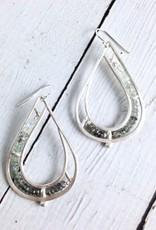 Handmade Matte Sterling Silver Teardrop Earrings with row of  Moss Aquamarine stones by Julia Britell Designs