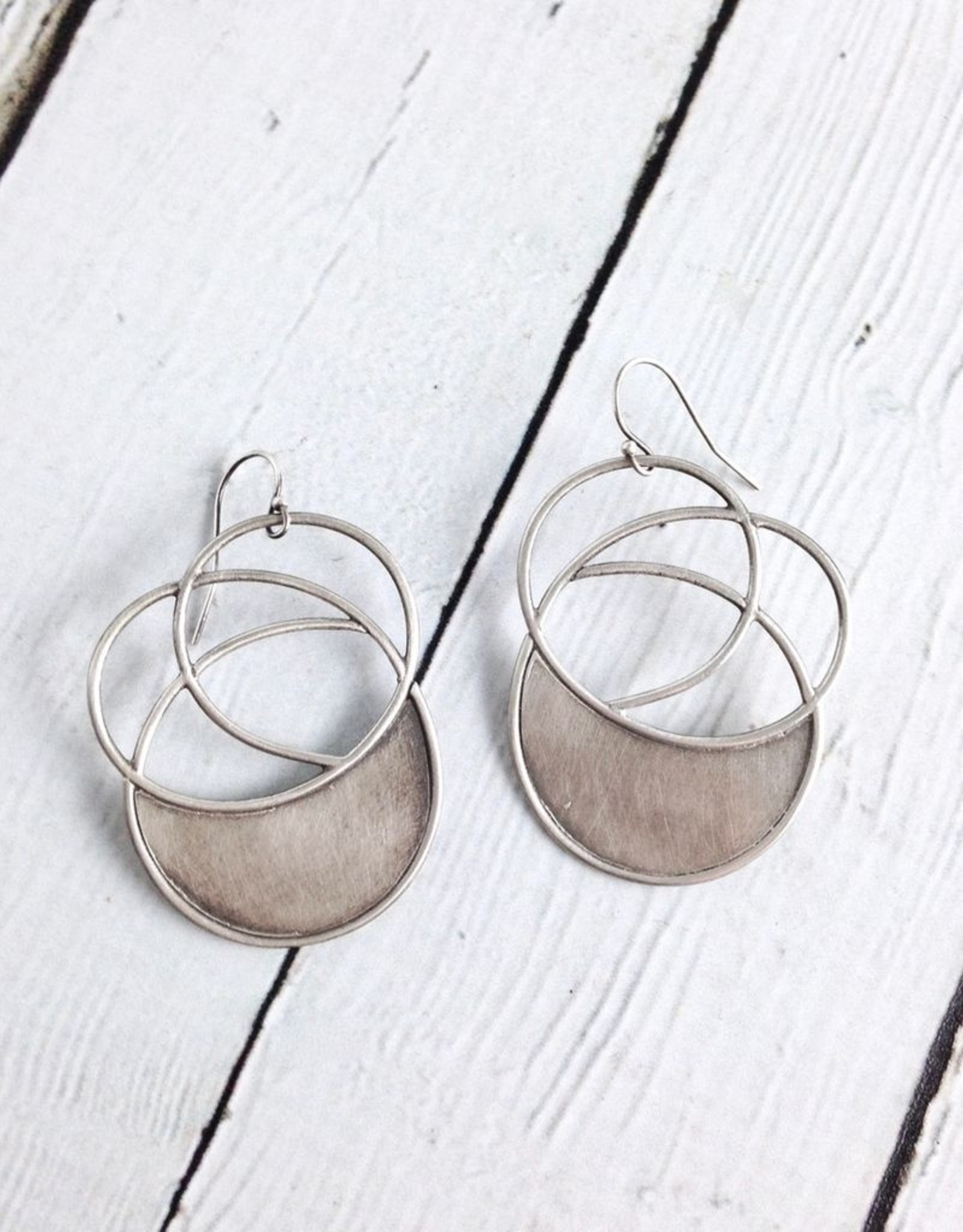 Handmade Sterling Silver Oxidized and textured multi-circle earrings with solid halfmoon by Julia Britell Designs