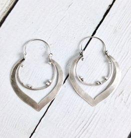 Handmade Matte Sterling Silver Lotus shaped Earrings by Julia Britell Designs