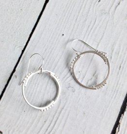 Handmade Matte Sterling Silver Circle and Dot Earrings by Julia Britell Designs