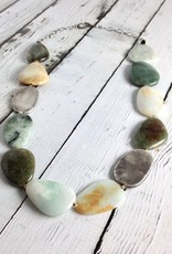 "Handmade 20"" Chunky Necklace with Large Polished Burmese Jade and Antitqued Silver Stones"